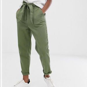 Washed Soft Twill Tie Waist Casual Pants